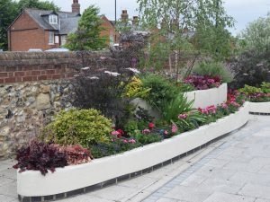 Bury In Bloom team, commercial container gardening