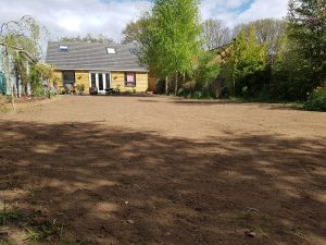 Area raked to level soil pre laying turf