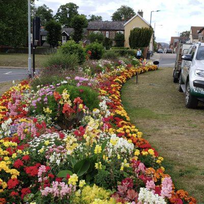 Smiley bed commercial garden planting Bury St Edmunds