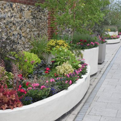 commercial street planters in Bury St Edmunds